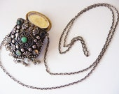 Vintage India tribal prayer purse necklace | Afghan Kuchi necklace | Asian necklace