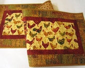 Table Runner, Handmade Runner, Roosters and Hens Table Runner, Quilted Table Runner, Fall Colors, Table Quilt, Country Decor, Farm, Quilt