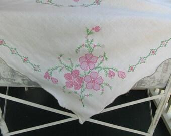 "Vintage Linen Tablecloth, Cross stitch, Floral, pink green, rectangular, rectangle, 65"" x 47"""