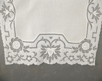 Vintage White Linen Dresser Scarf, cutwork, Exquisite, lace, netting, embroidery