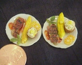 Dollhouse Miniature 2 Porcelain dinner plates ribeye steak, corn, potato IGMA Fellow J Uyetake