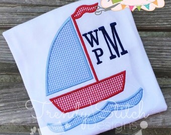 Sailboat 2 Applique Design Machine Embroidery INSTANT DOWNLOAD
