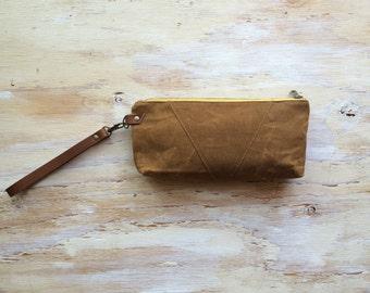 Waxed Canvas Wristlet/ Pouch/ Detachable Genuine Leather Strap