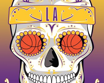 Los Angeles Lakers Basketball Sugar Skull 11x14 Print