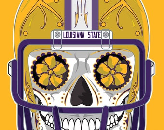 Louisiana State University (LSU) Sugar Skull 11x14 print