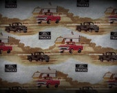 Ford Trucks Fabric, Flannel Fabric, Cotton Fabric, Trucks Fabric, 22 in x 44 Wide, Truck Quilt Fabric, Red Truck Fabric, Black Truck Fabric