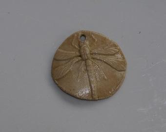 dragonfly pendant Ceramic dragonfly handmade dragonfly clay dragonfly pendant organic  earthy art bead artisan jewelry supplies potterygirl1