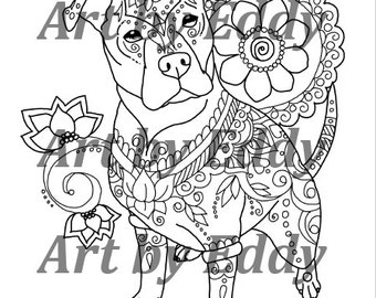 art of pibble single coloring page - Pitbull Coloring Pages