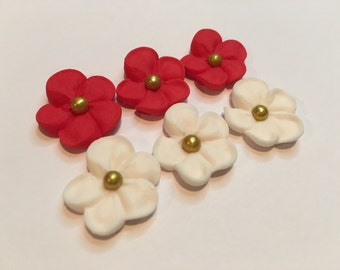 100 mini sugar flowers red and ivory