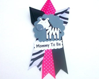 Small Zebra Baby Shower Corsage  - Mommy To Be Pin Badge Mum -  Hot Pink - Made To Order