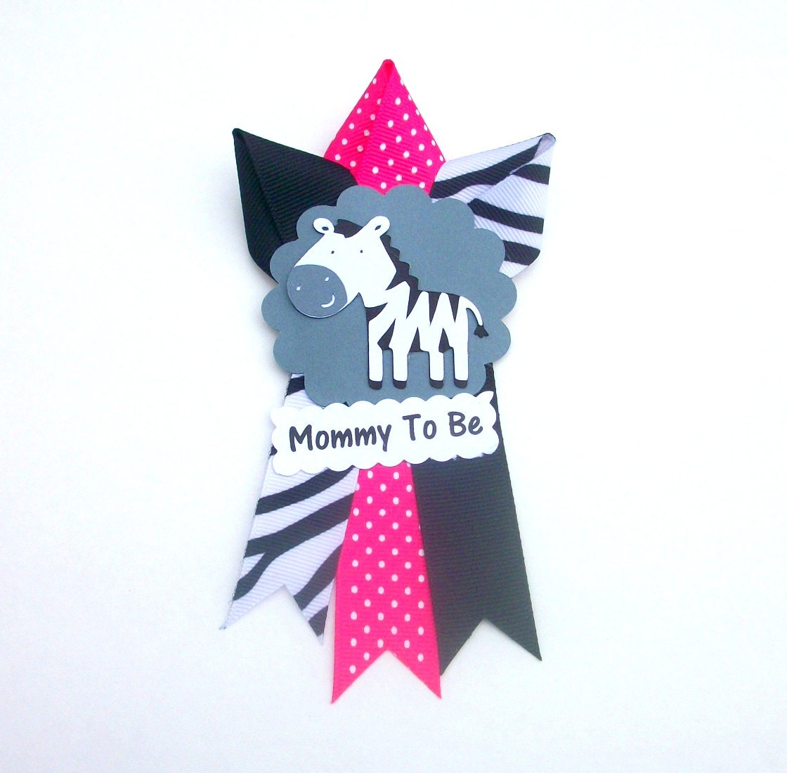 small zebra baby shower corsage mommy to be pin badge mum
