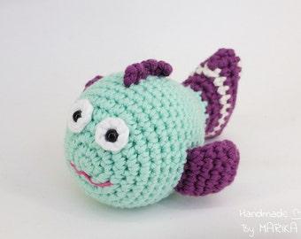 Toy fish soft baby rattle - organic cotton stuffed toy - crochet fish - mint and purple