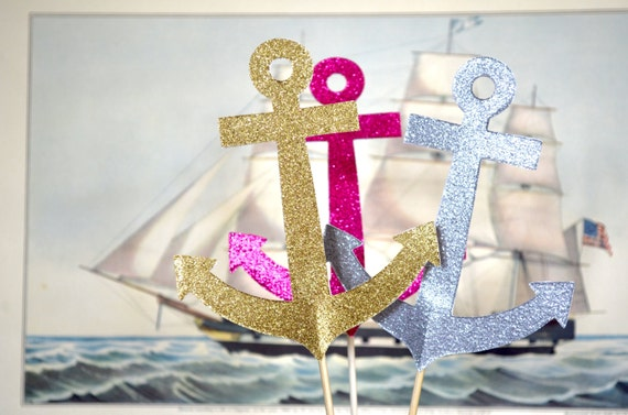 Glitter Anchor Dessert Toppers - custom colors available
