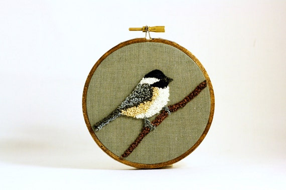 Black-Capped Chickadee Punchneedle Embroidery Hoop Wall Art 4 Inch Hoop. Nature Decor. Fiber Art. Home Decor. Bird Art. Green, Gray, Brown