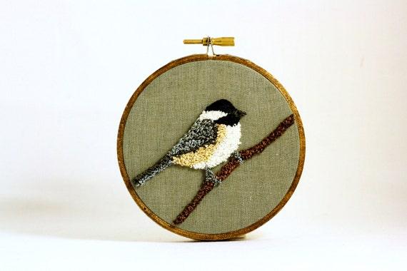 Black-Capped Chickadee Punchneedle Embroidery Hoop Wall Art 4 Inch Hoop. Nature Decor. Fiber Art. Home Decor. Bird Art. Green, Gray, Brown