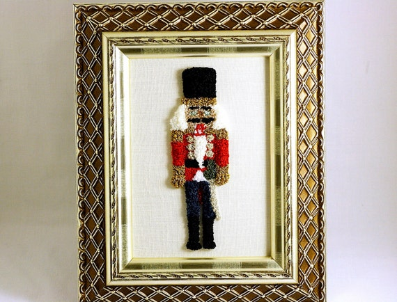 Nutcracker 3D Embroidery Sculpture. Fiber Art. Christmas Home Decor. Needle Punch Embroidery. Nutcracker Suite Ballet. Red, Gold, Silver.