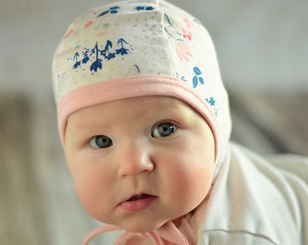 Baby pilot hat, baby girl hat, hearing aid hat, Emmifaye hat, hat with ties, toddler hat, spring hat, baby gift, baby cap, spring hat