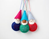 Felt Gnome, Christmas Ornament, Handmade Ornament, Elf, Colorful Holiday Decoration, Hand-embroidered, ready to ship