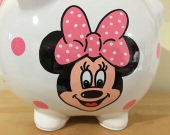 Personalized  Large Piggy  Bank  Disney Minnie Mouse Polka Dots-Newborns , Boys , Girls , Baby Shower Gift Centerpiece