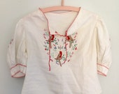 Vintage Bird Embroidery Linen Folk Blouse / Boho Tunic Top with Parrot Hand Embroidery - Extra Small