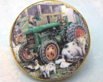 "BIRCHCROFT BUTTON, Extra Large 1 5/8"", Porcelain, Made in England, Farm Scene & Animals, Vintage Collectible Button"