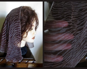 SALE Chocolate Brown mantilla scarf veil - New - chiffon sheer -
