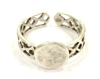 Adjustable Ring Blank, (10mm blank ) Antique Silver Plated Brass G4958