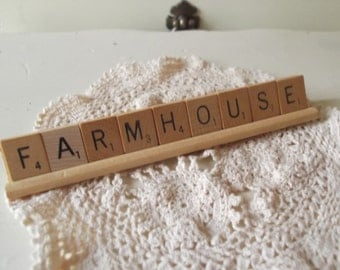 Farmhouse Scrabble Letters Farmhouse Sign Rustic Farmhouse Sign Vintage Scrabble Word Tiles