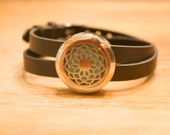 Leather and Stainless Steal Essential Oil Diffuser Wrap Bracelet Filigree Locket with a full set of felt pads