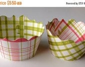CLOSEOUT SALE Pink and Green Plaid Cupcake wrappers SET of 12