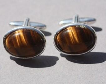 Tiger eye cuff links, semi precious gemstone cufflinks, amber brown gemstone cufflinks