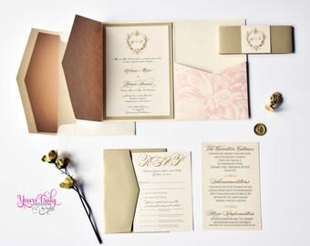 Sample - Anna ~ Victorian Elegance Wedding Invitation Suite  in Blush and Gold with Custom Monogram