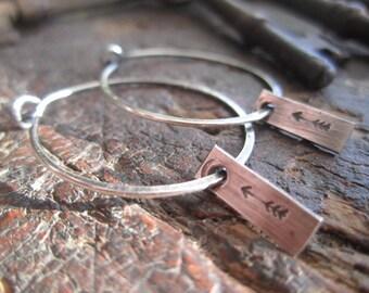 Medium Sterling Silver Hoop Earrings with Dangling Arrow Tag