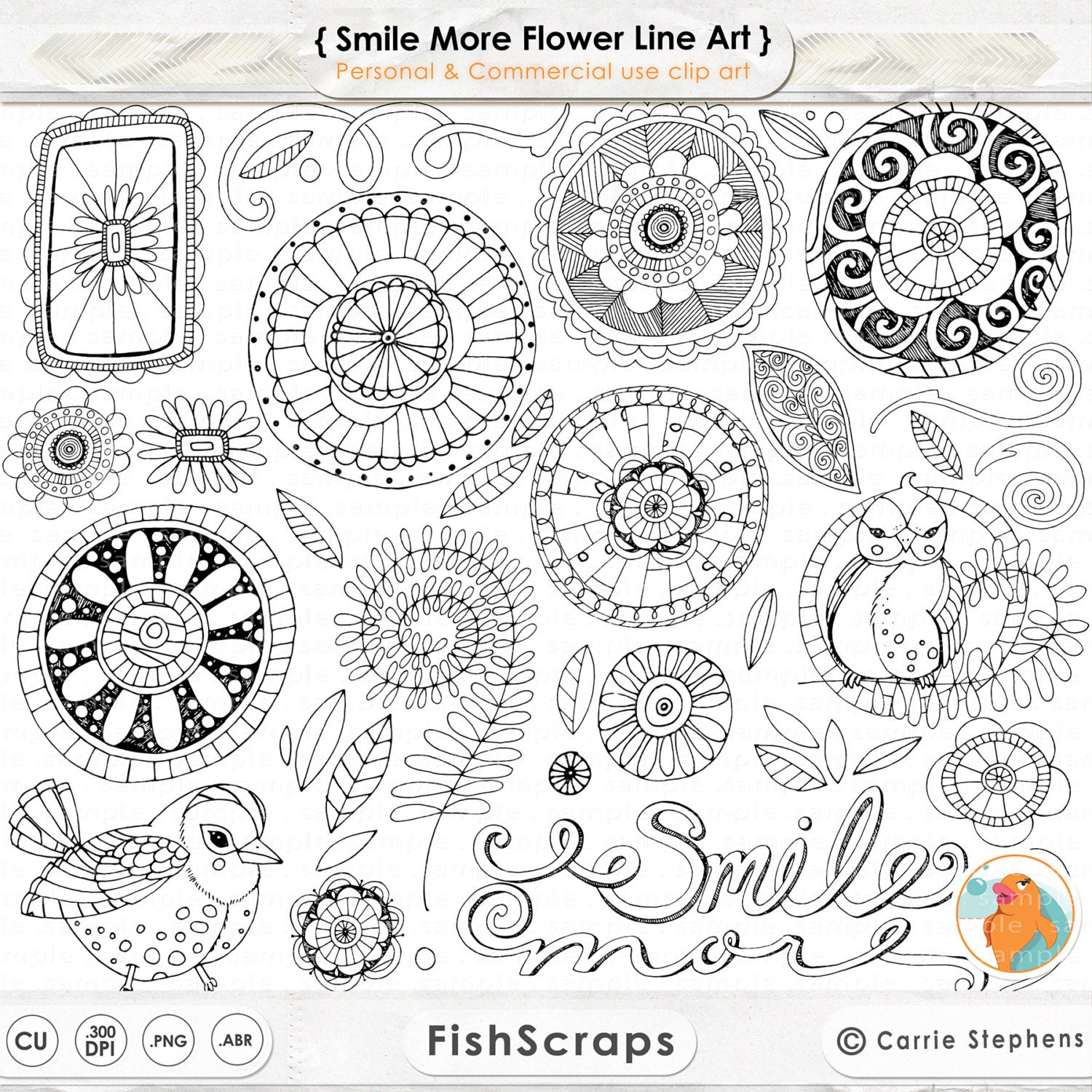 Doodle Flowers ClipArt Boho Digital Flower Line Art Flower