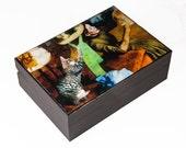 Edgar Degas Cat Art Large Keepsake Box - Wood, Gray Tabby, Memory Box, Cat Memorial, Cat Artwork, Deborah Julian