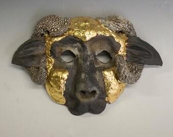 """Golden Fleeced Ram - Raku with gold leaf 4"""" x 6"""""""