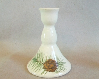 Pinecone Design on Off White Candlestick Holders - 3 - Singles - Ready to Ship - Hand Painted