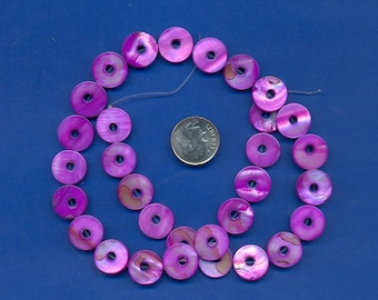 "16"" strand of 13mm Mother of Pearl Donut beads, Purple"