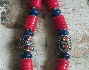 Nepalese Coral and Lapis Necklace