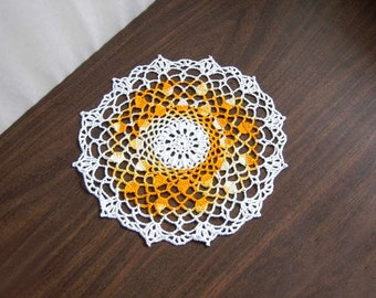 Golden Yellow Crochet Lace Doily, Table Topper, New Home Decor, Acorn Design