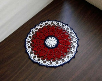 Americana Decor Crochet Lace Doily, Red White and Blue Decor, Patriotic Table Topper, USA Flag Colors, Memorial Day, 4th of July Decoration