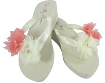 Coral & Ivory Beautiful Bridal Sandals- Flip Flops for the wedding for Bridal party, bridesmaids. All sizes for girls, ladies