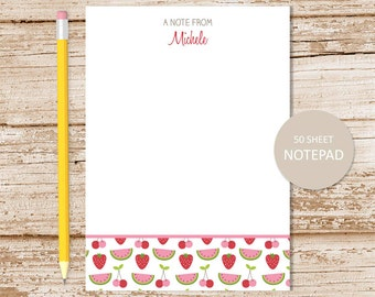 personalized fruit notepad . summer fruits note pad . watermelon strawberry cherries . personalized stationery . fruit stationary