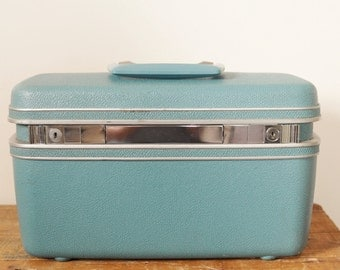 Vintage Samsonite Silhouette Turquoise Blue Teal Train Case Retro Luggage Traincase Makeup Toiletry Cases