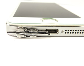 Cello iPhone & Cell Phone Dust Plug- Cellphone/ iPhone / Tablet Accessories- Sterling Silver Finish
