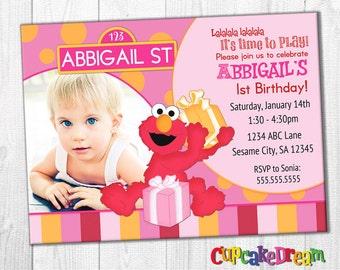 Elmo Birthday Invitation, Sesame Street Girl
