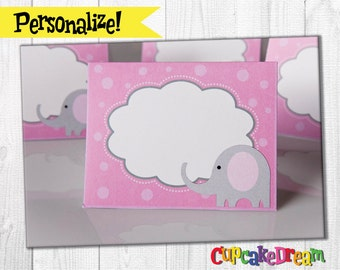 Elephant Baby Shower, Food Label Tent Cards