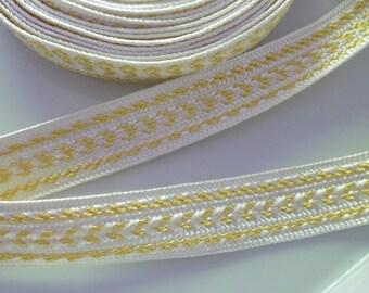 Moroccan trim, cream art silk and gold metallic , 6 metres
