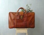 Vintage leather suitcase. 1970s travel bag. 70s weekender bag