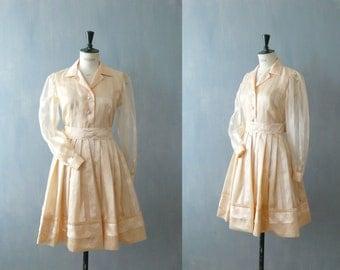 Vintage 1960s dress. Shirtwaist dress. Pink full skirt dress
